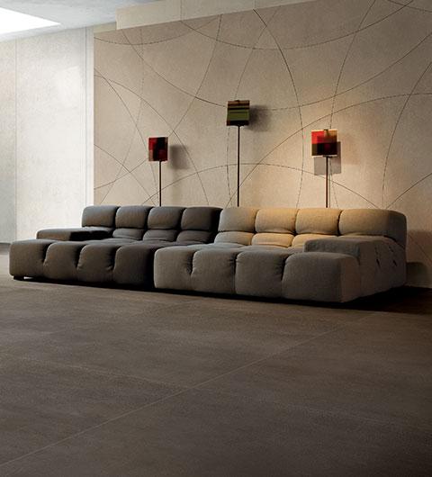 soggiorno effetto cemento Idustrial